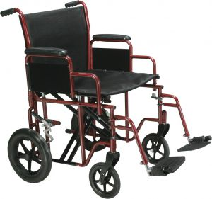 Heavy Duty Steel Transport Chair in Red