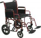 Heavy Duty Steel Transport Chair in Red